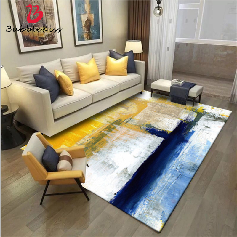 bulle kiss zone tapis tapis pour salon simple moderne art abstrait peinture a l huile bleu jaune tapis tapis de sol chambre tapis