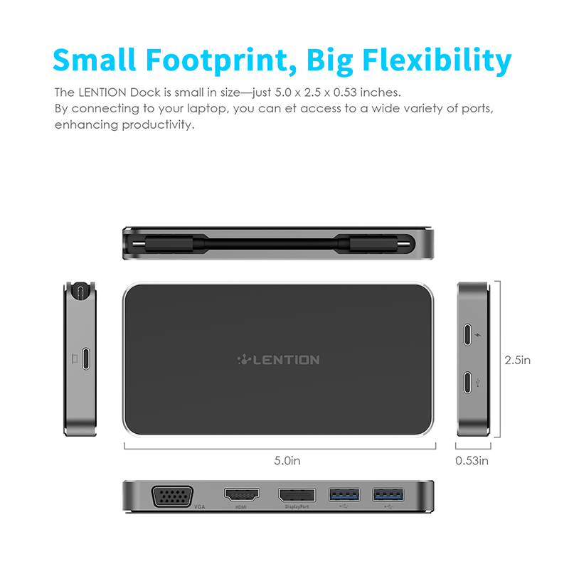 Lention USB-C Portable 1080P Docking Station with 2 USB 3.0, HDMI + DisplayPort + VGA Output, Type C Data + Charging Adapter