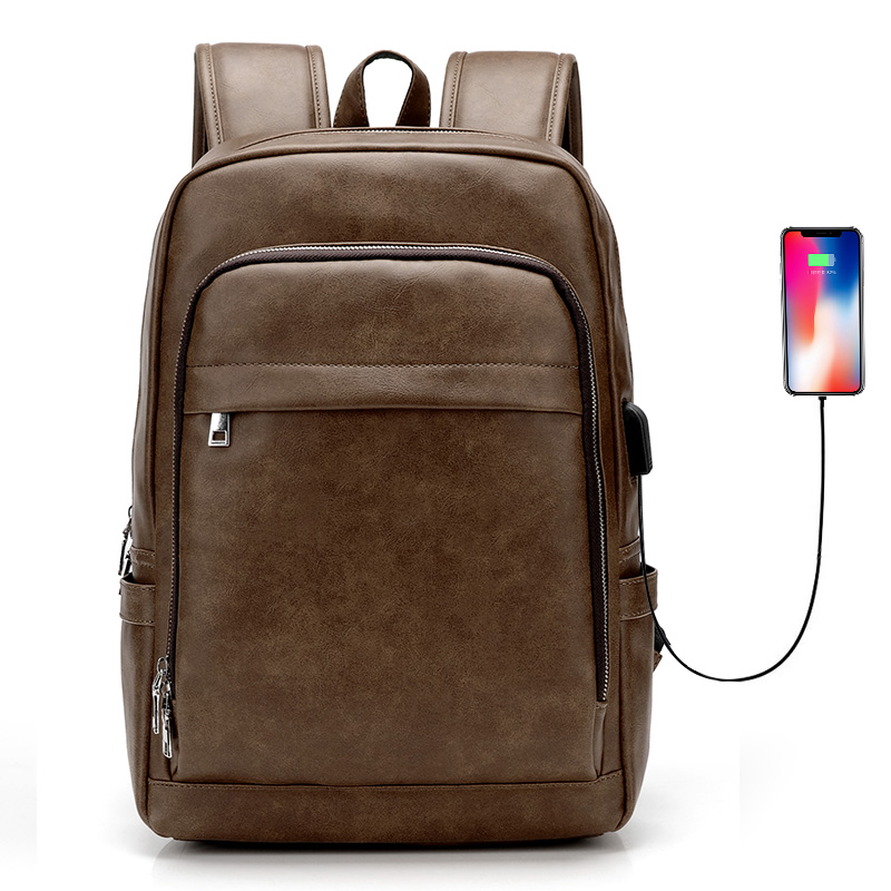 USB Charge Men Backpack Business Bag for 15.6 Laptop Travel Backpacks Large Capacity School College Zipper Male Backpack Solid image