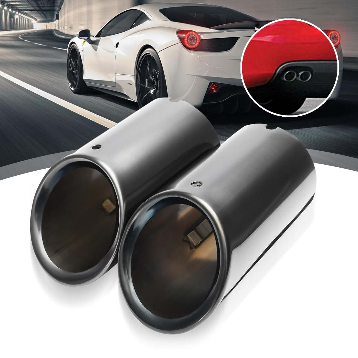 Pair Car Rear Exhaust Muffler Tail Pipe Tip 7.6 cm Diameter Stainless Steel For Audi Q5 A1 A3 A5 A4 B8