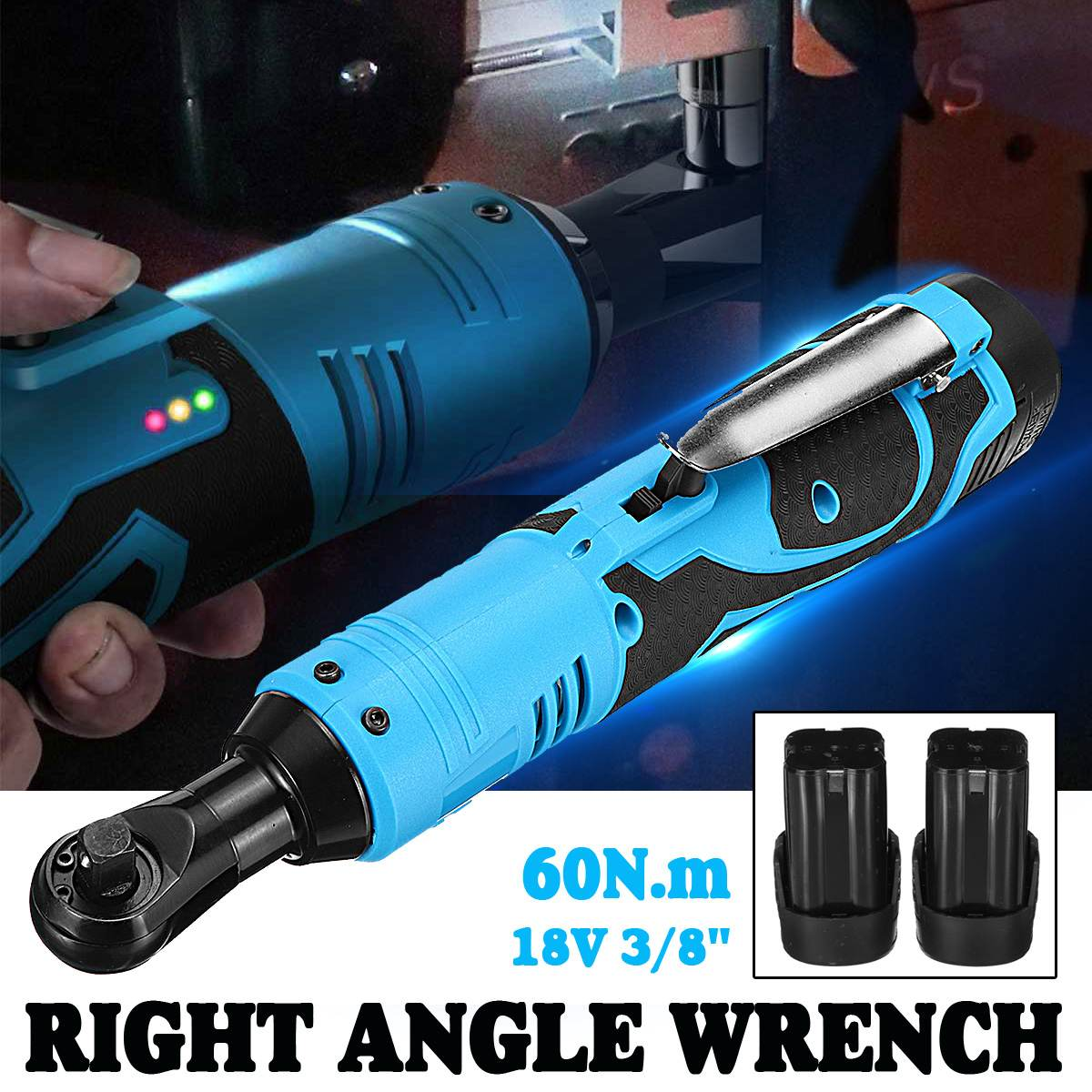 18V 60N.m 3/8 Inch Cordless Electric Ratchet Right Angle Wrench With 2pcs 8000mAh Battery Charger LED Power Tools