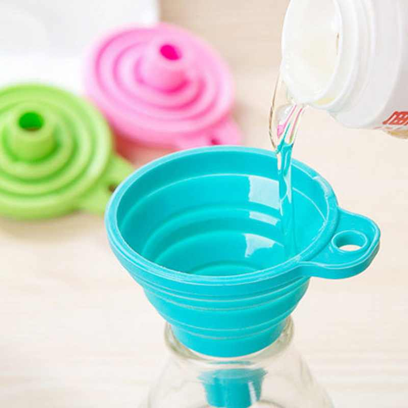 Foldable Funnel Silicone Collapsible Funnel Folding Portable Funnels Be Hung Household Liquid Dispensing Kitchen Tools