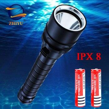 Linternas LED para buceo profesional ZHIYU T6 IPX8, lámparas portátiles impermeables de alta potencia de 2 18650 baterías, linterna subacuática para exteriores