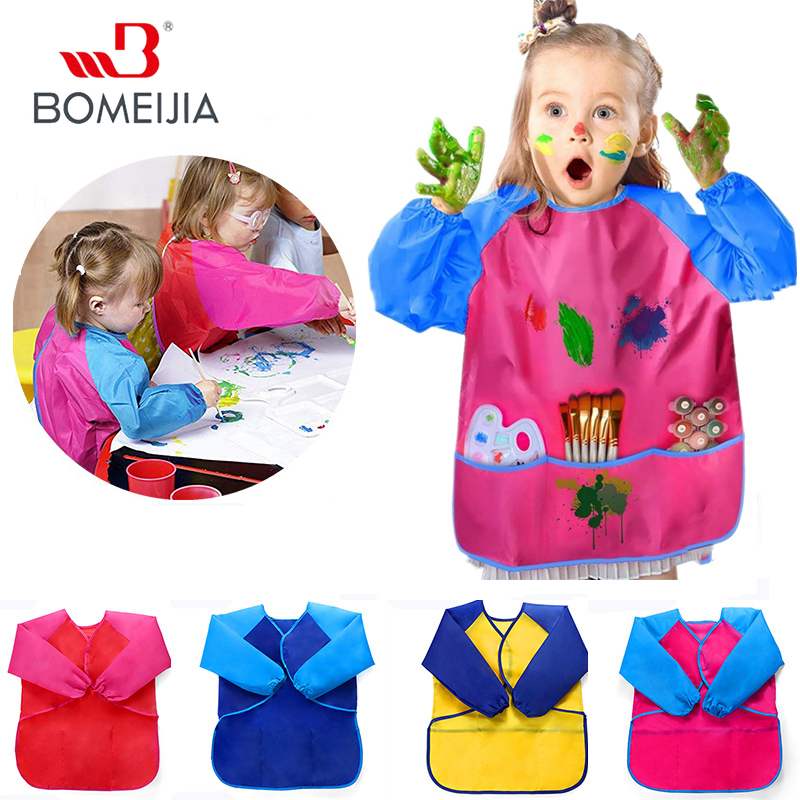 1pc Kids Apron For Painting School Smock For Painting Boy's And Girl's Portable Long Sleeve Waterproof Child Art Apron
