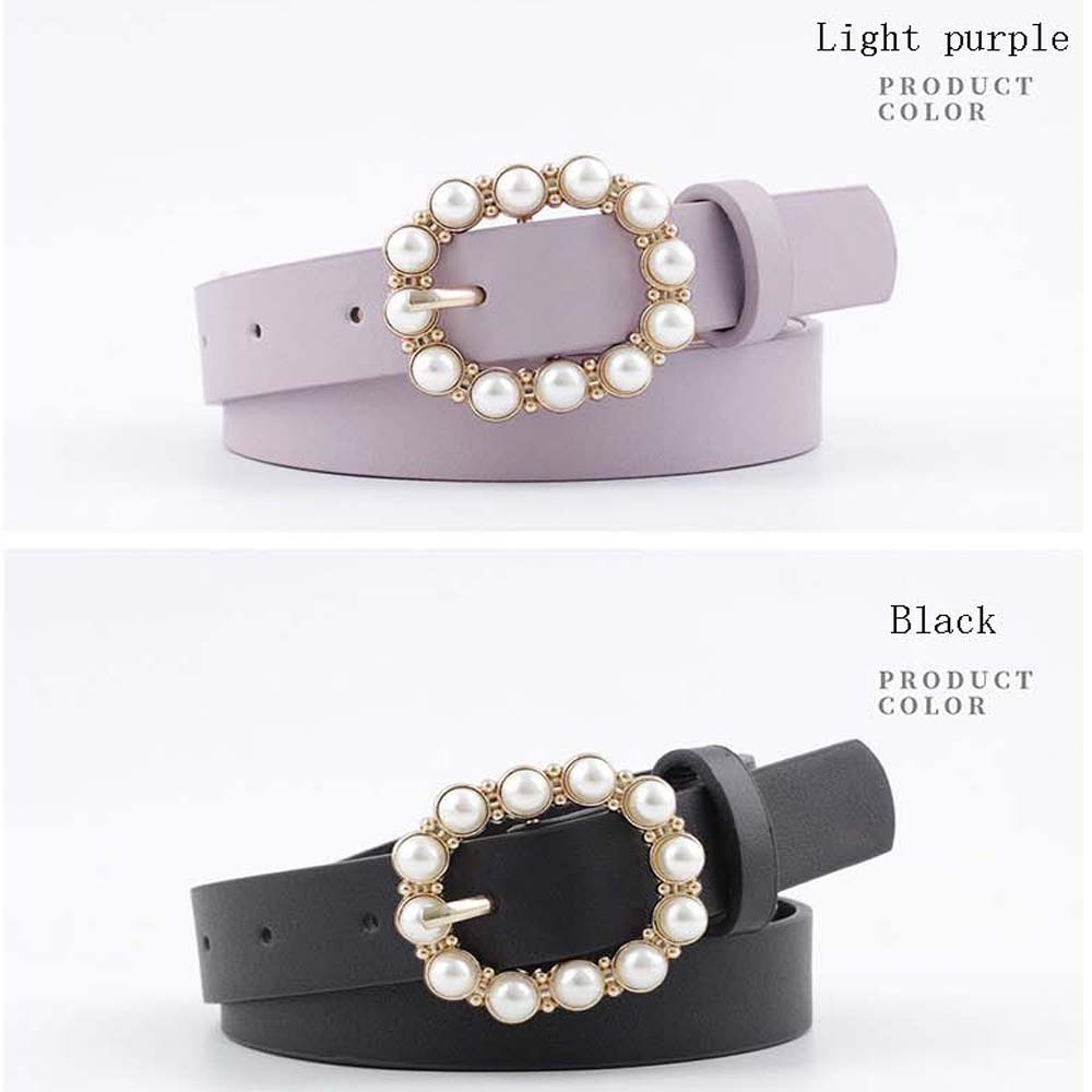 Fashion Pearl Decorative Belt Ladies Round Pin Buckle Belts Casual Solid PU Leather Thin Belt Women Dress Accessories