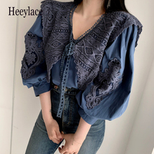 Elegant embroidered vintage shirt Puff sleeve Casual Lace Tops Autumn New fashio