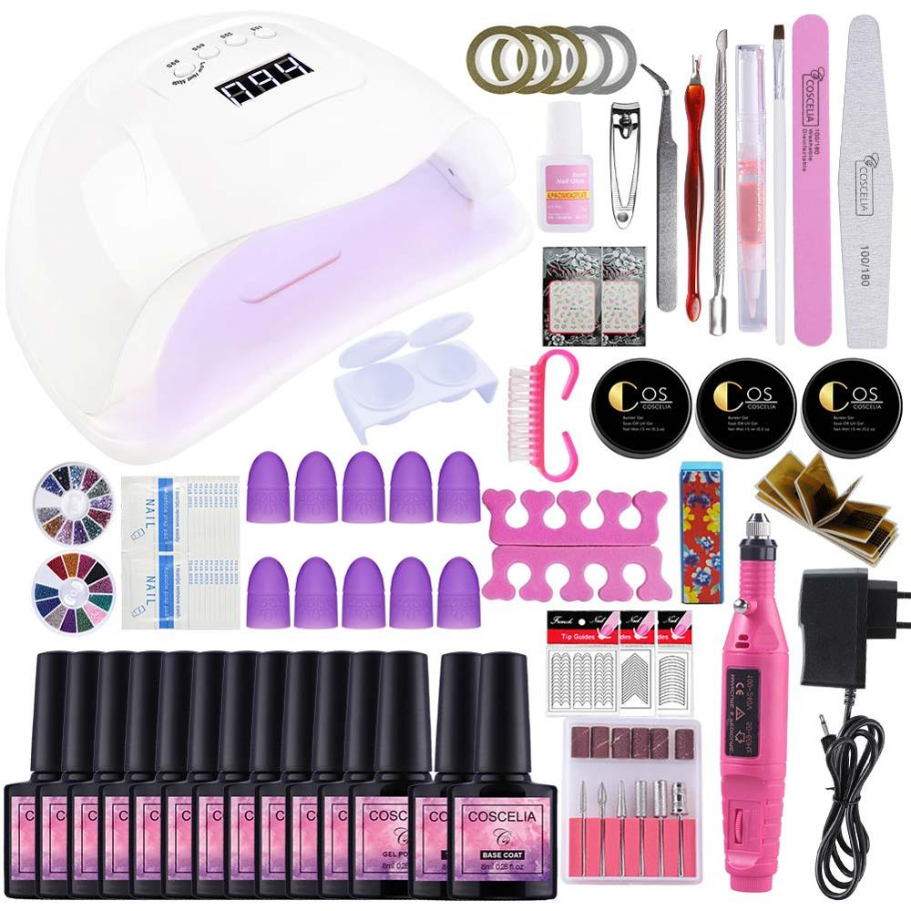 Manicure Machine Art Tools Set 54W UV Lamp Nail Varnish Gel Polish 40 Colors UV Gel Nail Polish Top Base Varnish Semi Permanant