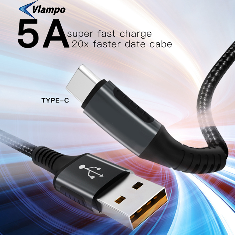 VLAMPO 2020 USB 5A Quick Cable Type C For Huawei Mate 20 P30 P20 Fast Charging Charger For Xiaomi Redmi Note 8 Samsung S10 S9 S8|Mobile Phone Cables| |  - title=