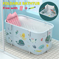 Foldable Bathtub Inflatable Outdoor Tub SPA Bath Bucket Adult Baby Swimming Pool Household Family Bathroom Tub with Pillow Pump