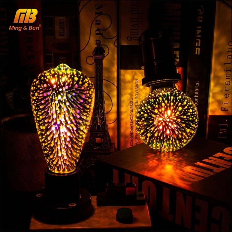Led Gloeilamp 3D Decoratie Lamp Vuurwerk 110 220V ST64 G95 G80 G125 A60 Fles Hart E27 Vakantie Lichten nieuwigheid Kerst Lamp