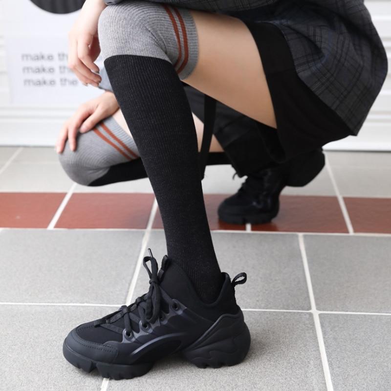 New Cotton Medias Striped Overknee Socks Women Black Thigh High Socks White High Stockings Knee Socks Girls Ladies Long Socks