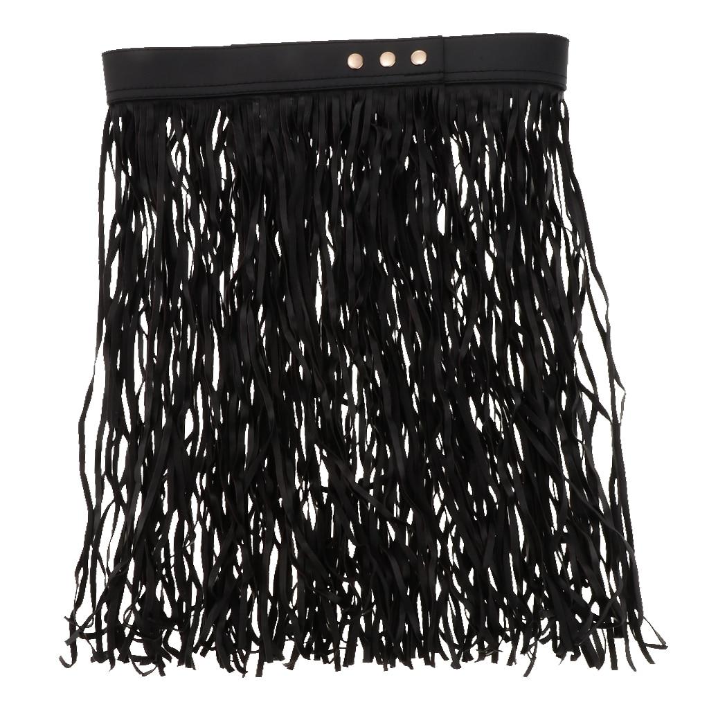 Women's Black Hippie Boho Fringe Tassel PU Leather Belt Waist Short Skirt