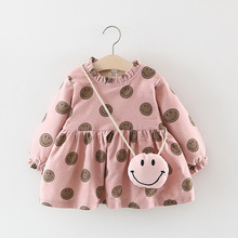 Autumn Baby Girls Dresses Casual Strawberry Print Children Dress Sweet Long Sleeve Kids Dresses for Girls Kids Clothes 2018 autumn new arrival girls chinese style cheongsam kids girls long sleeve crane print dresses surplice qipao clothes years
