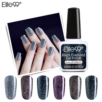 Elite99 10ml Schwarz Diamant UV Gel Nagellack Holographische Glänzende Glitter Basis Top Gel Nagellack Hybrid Nagel Kunst nagel Make-Up