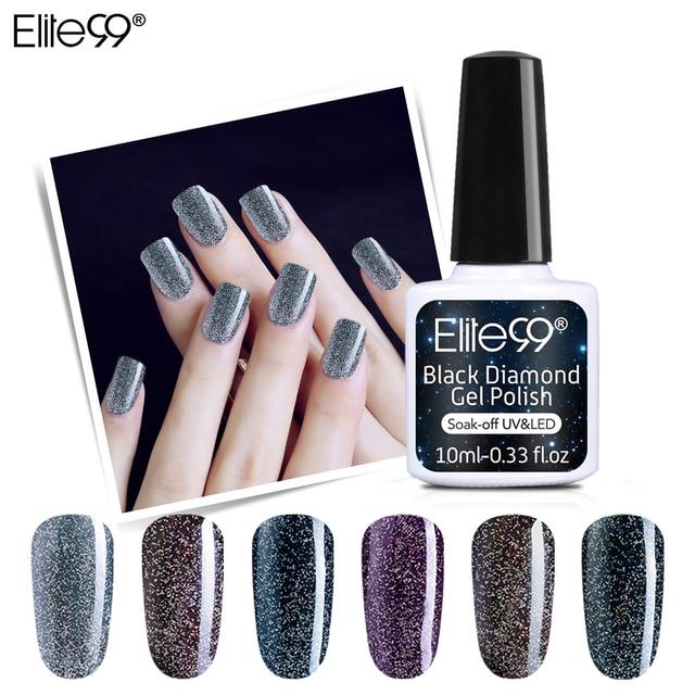 Elite99 10ml Schwarz Diamant UV Gel Nagellack Holographische Glänzende Glitter Basis Top Gel Nagellack Hybrid Nagel Kunst nagel Make-Up