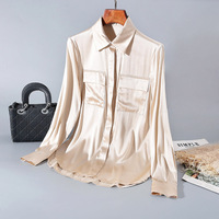 100% Silk Shirt Loose Color Shirt Female Long sleeved Stitching Tops Boutique Fashion Temperament Women 's Clothing New