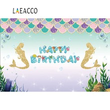 Laeacco Little Mermaid Backdrops Happy Birthday Party Gold Fish Scales Poster Photography Backgrounds Photocall Photo Studio