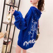 Add velvet padded hooded women 2019 new Korean autumn and winter net red foreign-style loose long sl