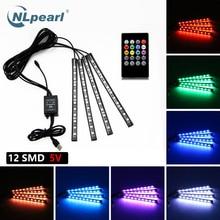 цена на NLpearl 4pcs Music Control Car Decorative Lamp USB Led Strip 12V 5V RGB 5050 SMD Waterproof Interior Atmosphere lamp With Remote