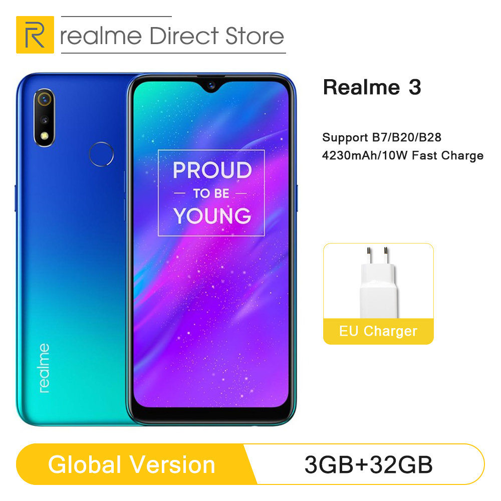 "Global Version OPPO Realme 3 3GB RAM 32GB ROM Helio P70 AI Processor 6.2"" Dewdrop Display ColorOS 6.0 + Android P Smartphone"