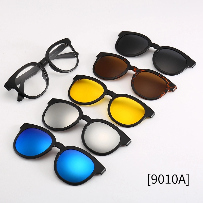 Round <font><b>5</b></font> In 1 <font><b>Lenses</b></font> Polarized <font><b>Sunglasses</b></font> <font><b>Magnet</b></font> <font><b>Clip</b></font> On Replaceable Len Mirror Glasses image