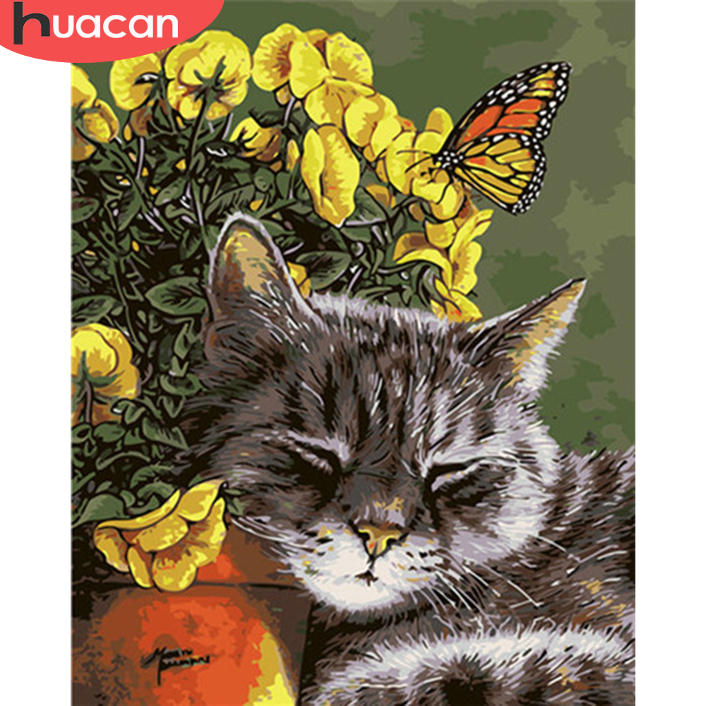 HUACAN Coloring By Numbers Flower Cat Animals DIY Hand Painted Acrylic Oil Painting By Numbers Canvas Decoration Art Gift