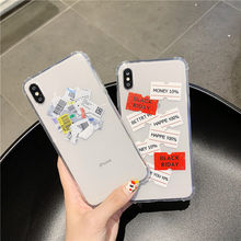 Ins New Barcode simple label brand phone case for iPhone 6 6s Plus 7 7Plus 8 8Plus X XS XR XS Max clear soft tpu back cover(China)