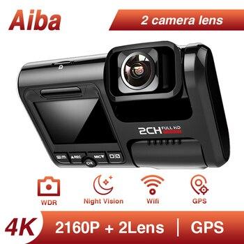 Aiba Dash Cam J07 4K GPS incorporado Coordina la velocidad WiFi DVR Lente dual Cámara del coche Cámara del tablero Cámara de visión nocturna Cámara del parque 24H
