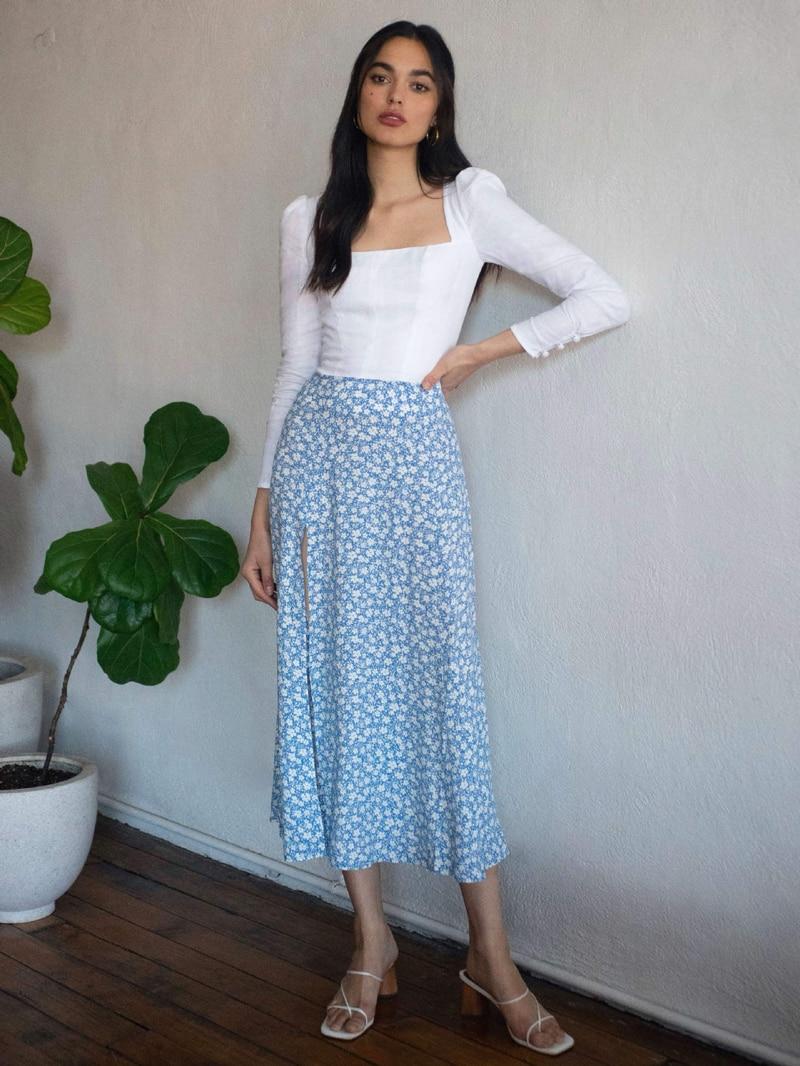 Fashion Floral Skirt Women Summer High Waist Split Beach Casual Midi Skirts Boho Elegant Vacation A Line Skirt Jupe Faldas