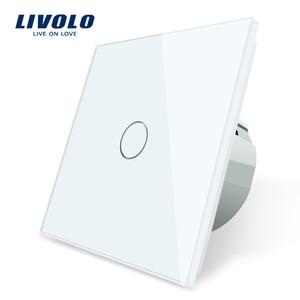 Livolo luxury Wall Touch Sensor Switch,EU Standard Light Switch,Crystal Glass switch power,1Gang 1Way Switch,220-250,C701-1/2/5(China)