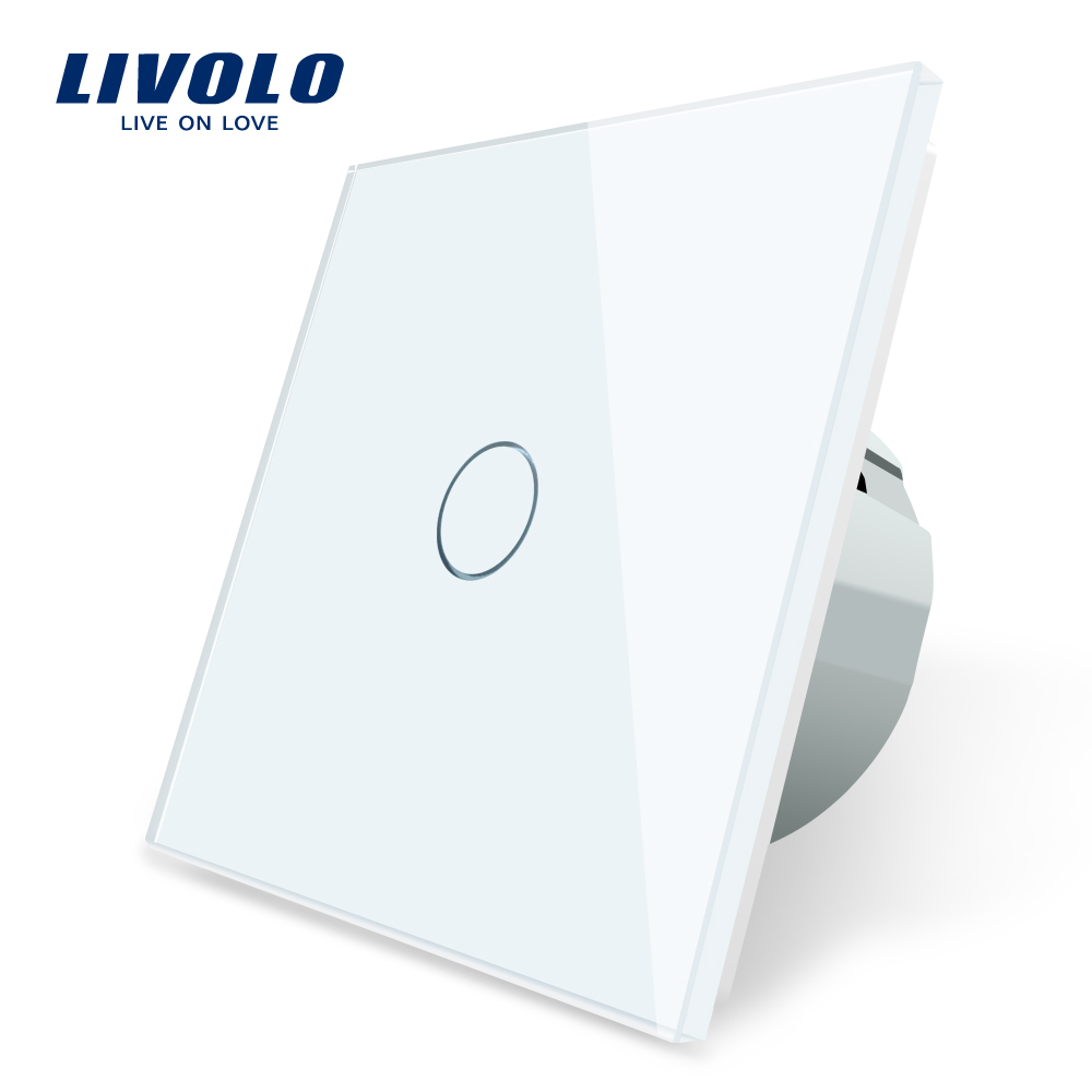 Livolo Luxury Wall Touch Sensor Switch,EU Standard Light Switch,Crystal Glass Switch Power,1Gang 1Way Switch,220-250,C701-1/2/5