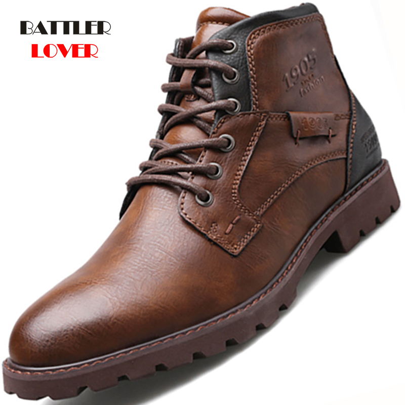 Men Boots Leather Autumn Winter Vintage Style Ankle Boots Men Lace Up Footwear Fashion Casual Shoes Men Botas Hombre Motor Boot