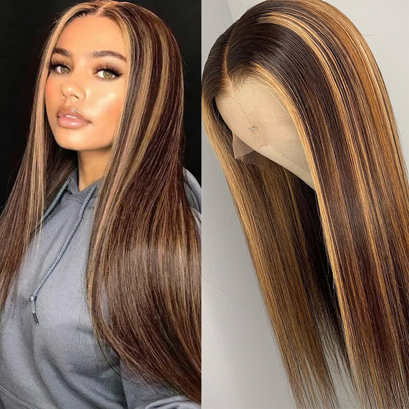 Brown Blonde Lace Front Wigs For Women Highlight Wig Human Hair Pre Plucked Straight Peruvian Non-remy Colored Human Hair Wigs