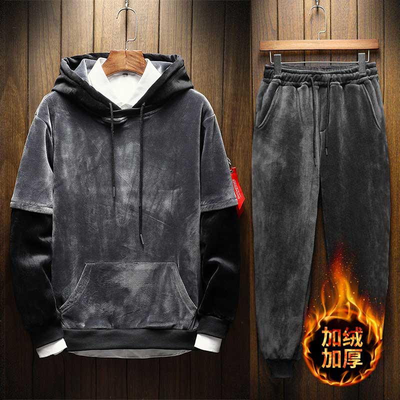 Men's Velour Velvet Sport Sweatshirt Tracksuit Track Suit Outwear 2PC Jacket Coat Pants Trousers Sets Outfits