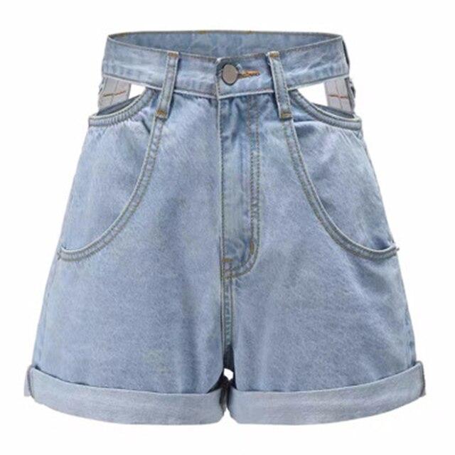 High Waist Denim Shorts Women Jeans Hollow Out Korean High Waisted Wide Leg Shorts Female 2020 Summer Streetwear Bottoms Girls 6