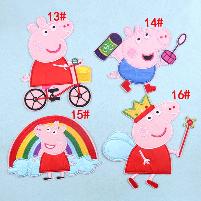 20CM Peppa Pig Embroidery Cloth Stickers Patch Stickers Anime Figure Cartoon Large Clothing Decoration Patch Stickers Embroidery
