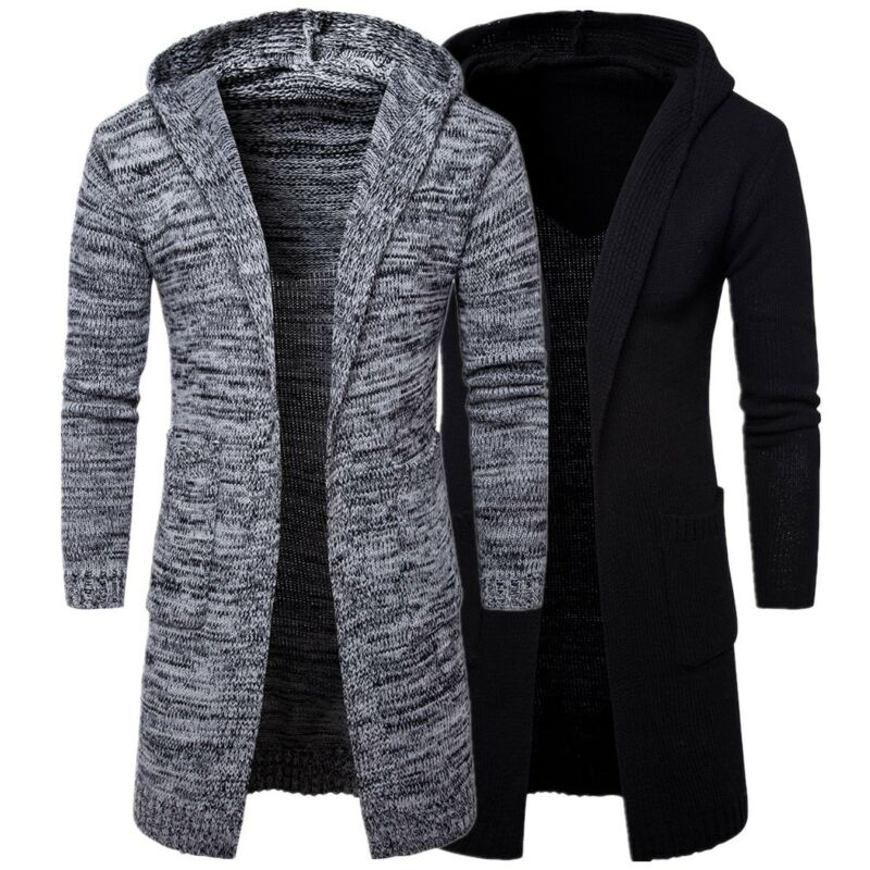 Fashion Men Trend Thick Windbreaker Long Hooded Sweater Cardigan Jacket Coat Solid Color Long Sleeve Slim Fashionable