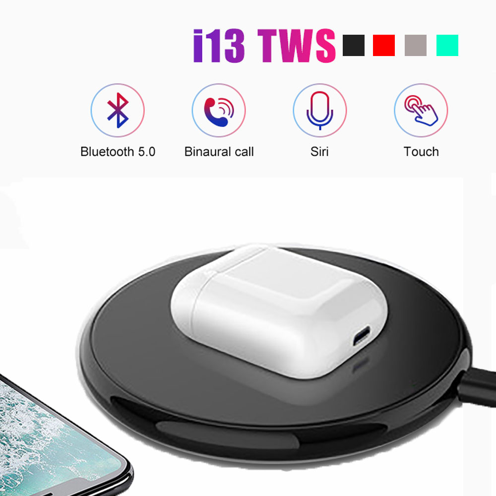 Wireless Charging <font><b>i13</b></font> <font><b>Tws</b></font> Bluetooth 5.0 Headphone Original Helmets Surround Sound Supper Bass <font><b>Pop</b></font> <font><b>up</b></font> For All Smart Phones image