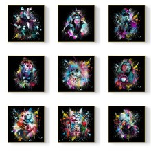 Graffiti Monkey Lion Dog Cat Canvas Painting Posters and Prints Animals Wall Art Pictures for Living Room Decor Unframed