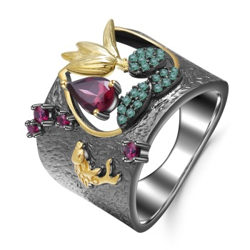 S925 Sterling Silver Gold and Ruby Wedding Rings for Women Silver 925 Jewelry Ruby Gemstone Bizuteria Anillos De Obsidian Rings