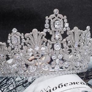 Image 5 - Muhteşem Klasik Kübik Zirkonya Düğün Gelin 2/3 Yuvarlak Lüksemburg tiara taç Diadem Kadınlar için Saç Takı Aksesuarları HG026