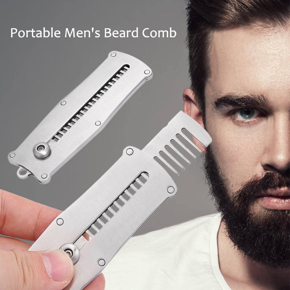 Stainless Steel Portable Men's Beard Comb Male Mustache Shaving Brush Pocket Comb Facial Hair Beard Man Shaped Brush Tool