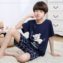 Летние милые клетчатые пижамы для мальчиков с рисунком медведя; хлопковые шорты с короткими рукавами; домашняя одежда для маленьких мальчиков среднего и большого размера