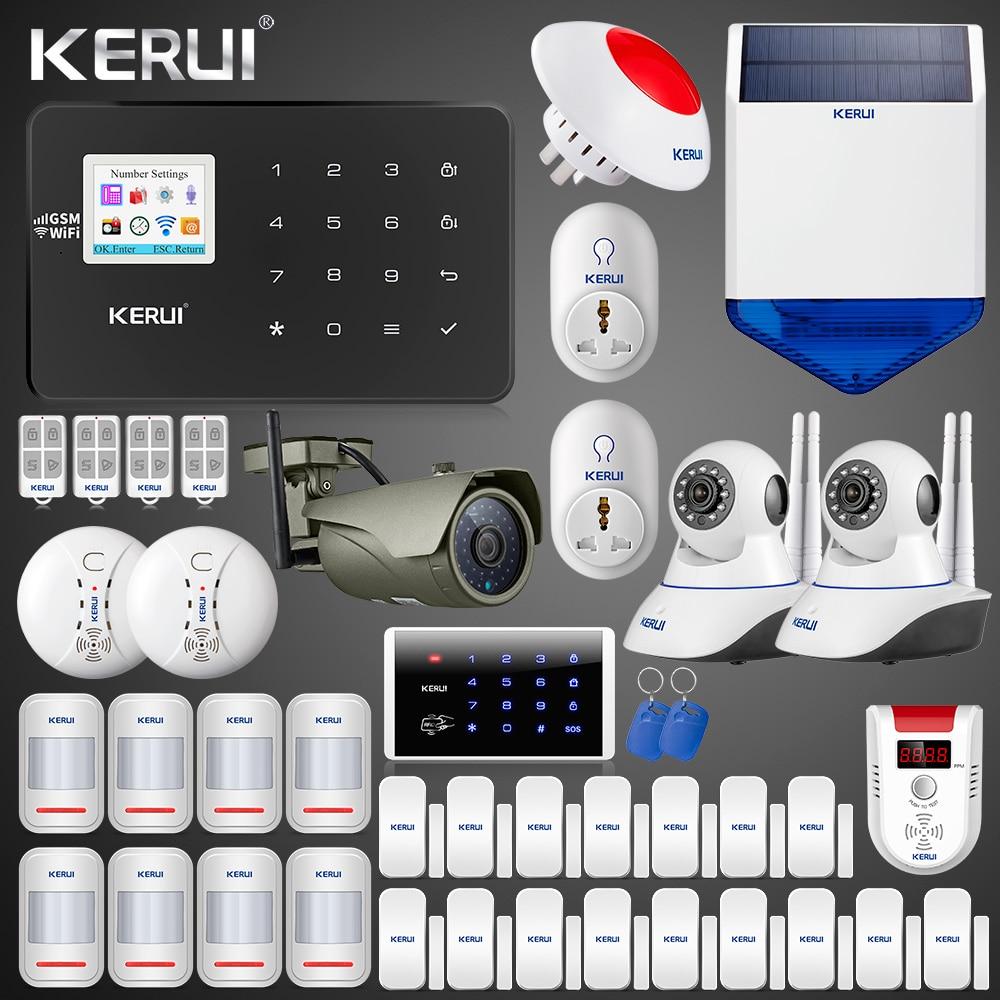 2019 Latest Kerui W18 Wireless Wifi GSM  Home Alarm Kit APP Control LCD GSM SMS Burglar Alarm System For Home Security