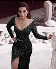 Evening Dresses Long Dubai Luxury Split Silver Sequine Diamond Sleeves Sparkle Sexy Prom Gowns(China)