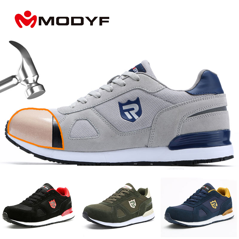 MODYF Safety Shoes Work Construction Boots Men's Outdoor Steel Toe Cap Plus Size Shoes Men Puncture Proof Lightweight Sneakers