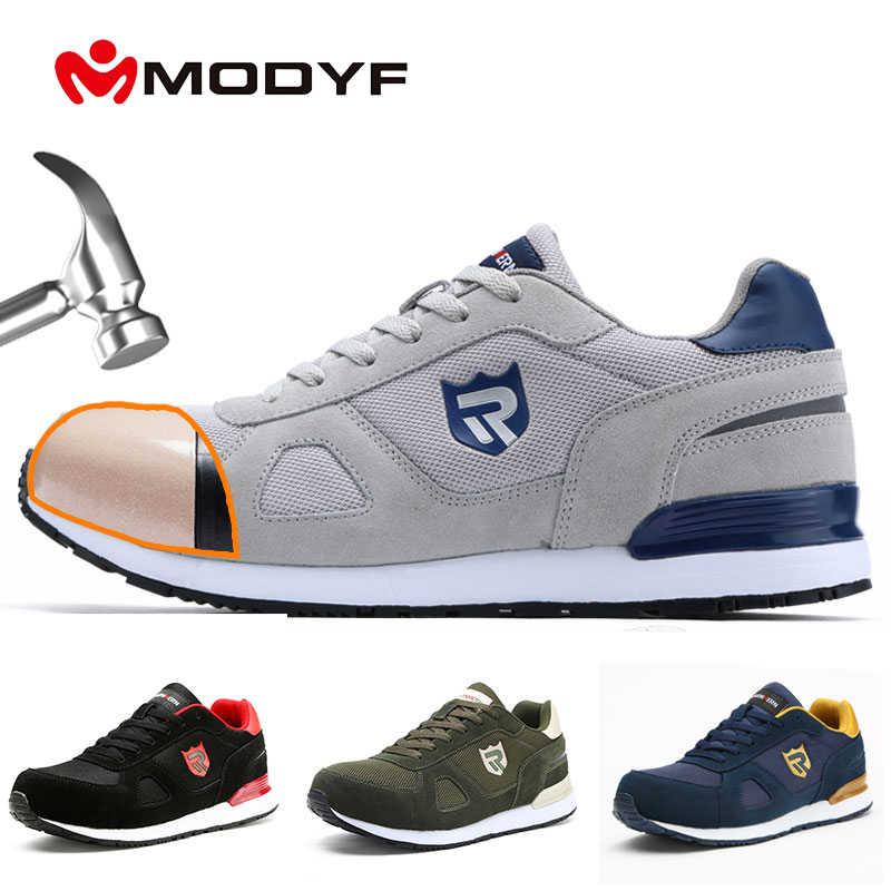 MODYF güvenlik ayakkabıları iş inşaat botları erkek açık çelik burun artı boyutu ayakkabı erkekler delinme dayanıklı hafif spor ayakkabı