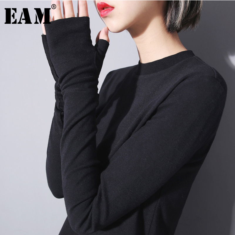 [EAM] Women  Black Personality Brief With Scarf T-shirt New Round Neck Long Sleeve  Fashion Tide  Spring Summer 2020 JO268