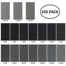 102 шт влажная сухая Песочная бумага 60 до 3000 зернистость ассортимент абразивных бумажных листов для автомобильной шлифовки деревянной мебели отделка