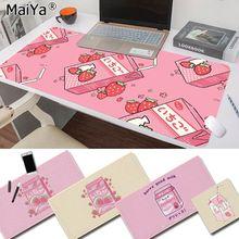 Maiya Fashion alfombrilla de caucho para ratón, diseño Kawaii, japonés, con diseño de fresa y leche, para ratón, PC y alfombrilla de ratón Gaming de ordenador